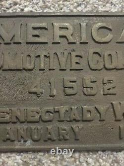 American Locomotive Co. Builder's Plate Schenectady 1907 NY Central RR 13x7
