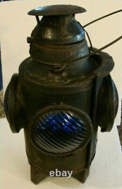 Antique Handlan Railroad Lantern New York Central System Blue & Amber 4 Way