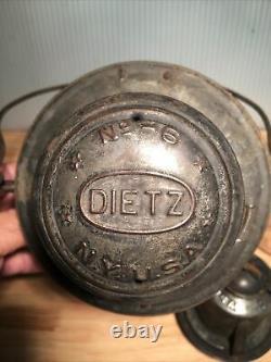 Antique New York Central Dietz No-6 Bell Bottom Railroad Lantern with B&A RR Globe