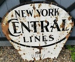 BIG! 2 SIDED VINTAGE NEW YORK CENTRAL SYSTEM RAILROAD SIGN RAILWAY 33.5 x 35.5