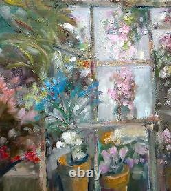 Central New York Greenhouse Original Oil on canvas 18x24 in. Hall Groat Sr