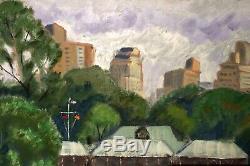 Central Park Boathouse New York City Vintage Impressionist Landscape Painting