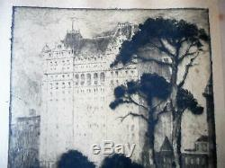 Jules Andre Smith 1911 Etching Plaza Hotel from Central Park New York City