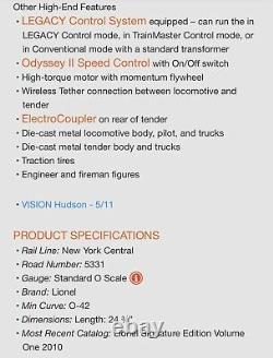 Lionel Vision Line New York Central 700e Hudson Gunmetal Grey 6-11218 Nyc Legacy