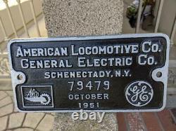 New York Central 1951 Railroad Diesel Locomotive Builder Plate Alco Fb2 #3362