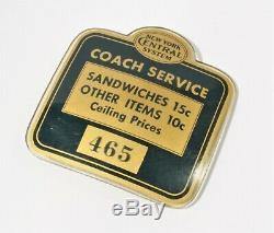VTG Railroad Badge Button Pin New York Central NYC Celluloid COACH SERVICE RARE