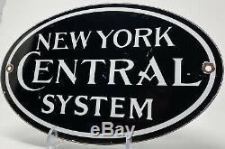 Vintage New York Central System Railroad Porcelain Sign Gas Oil Subway Railway