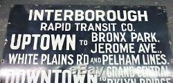 Vintage Porcelain New York Subway Entrance Sign Interborough IRT Grand Central