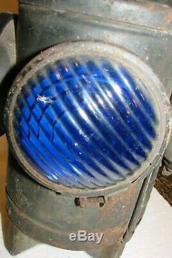 Antique Handlan Railroad Lantern New York, Système Central Blue & Orange 4 Way