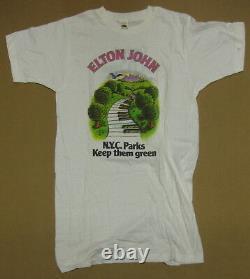 John Elton Wnew New York, Central Park 1980 Vintage T-shirt T- Concert Moyen Mint