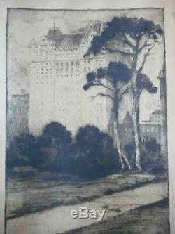 Jules Andre Smith 1911 Gravure Plaza Hôtel De Central Park New York City