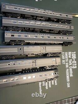 Kato N Scale 10 Voiture Set New York Central Passenger Cars Avec Lumières / Passagers