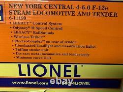Lionel Legacy New York Central F-12e DIX Wheeler 4-6-0 Moteur 6-11150 Nyc Vapeur