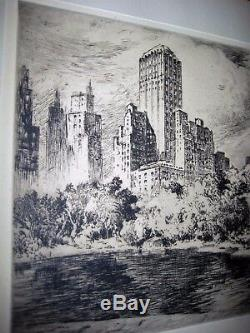 Nat Lowell Signé Limited Edition Gravure Originale South Central Park À New York