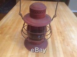 New York Central Dietz No. 6 Antique Railroad Red Lantern Globe