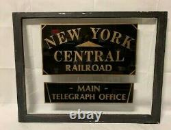 New York Central Railroad Rr Railway Telegraph Billetterie Antique Old Window