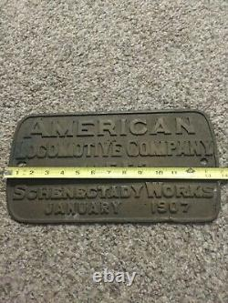 Plate American Locomotive Co. Constructeur Schenectady Ny 1907 Central Rr 13x7