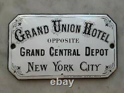 Rare! 1875 Grand Union Hotel Central Depot New York City Porcelaine Adv Signe Taxi