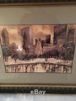 Vintage New York City Central Park Patinage Sur Glace Peinture Aquarelle. Signé