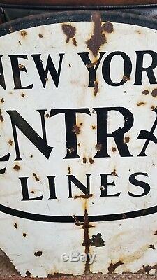 Vintage New York, Lignes De Chemin De Fer Central Connexion Bilatéral Porcelaine Nyc Train
