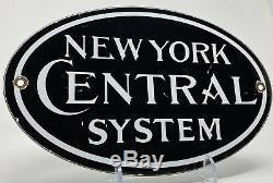 Vintage New York, Système Central Railroad Porcelain Sign Gas Oil Subway Railway